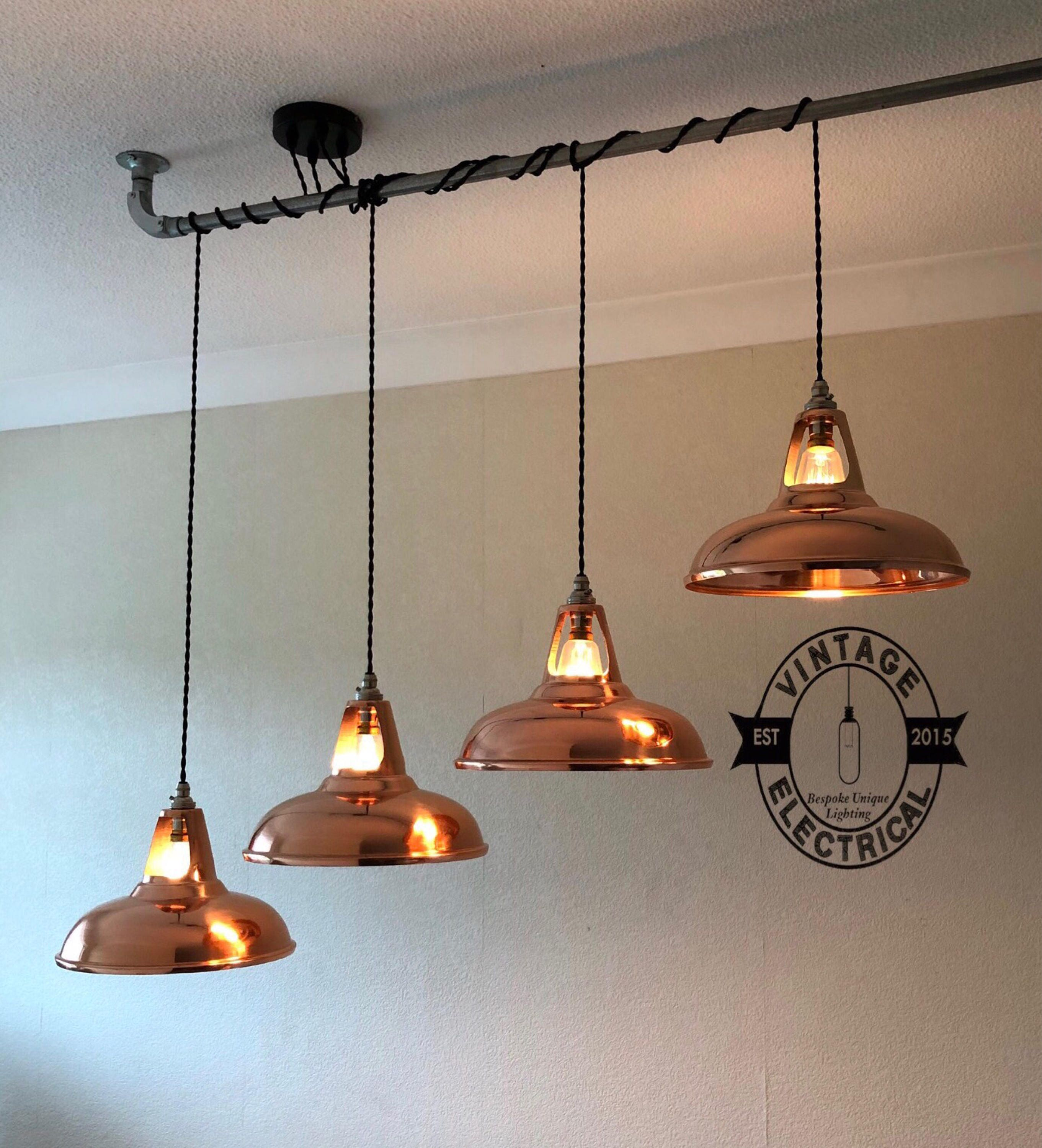 The Burnham Copper Edition 4 X Pendant Drop Light Hanging