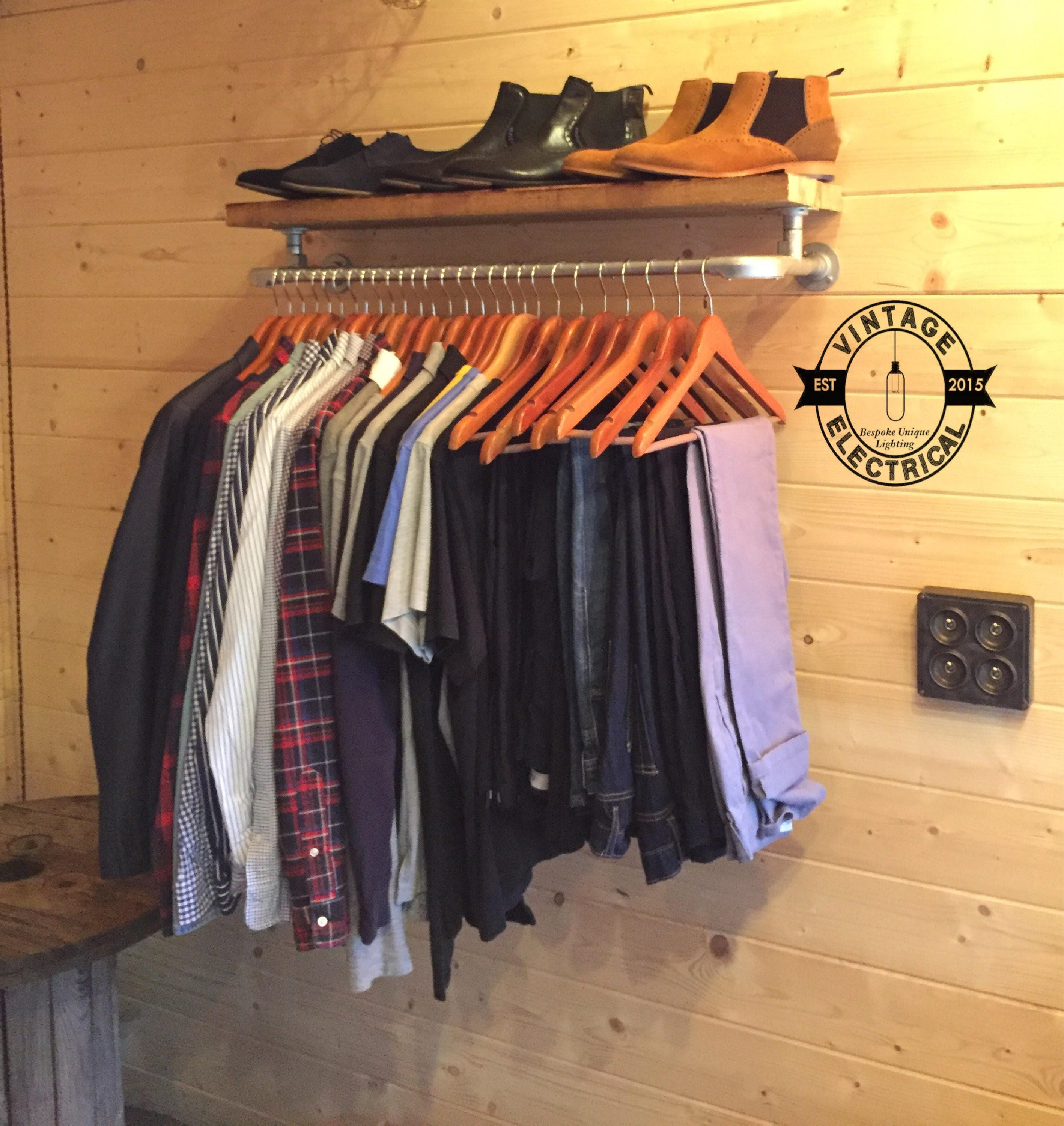 vintage style clothes rail uk, the cranworth industrial clothes rail with vintage style shelf solid, Design ideen