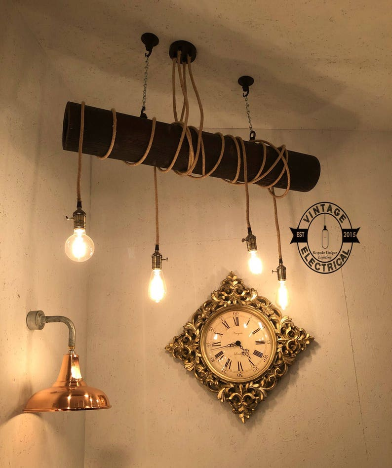 The Morston Solid Wood Rope Cable Drop Light Ceiling Dining