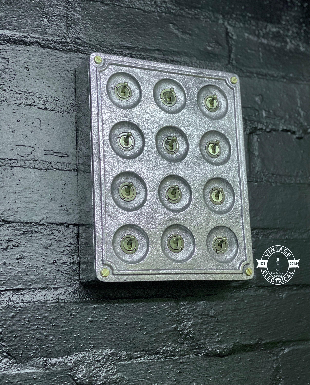 12 Gang 2 Way Solid Cast Metal Light Switch Industrial Bs En
