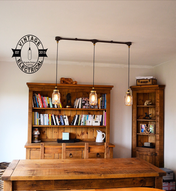 The Kenninghall 3 X Kilner Hanging Mason Jar Lights Ceiling Etsy