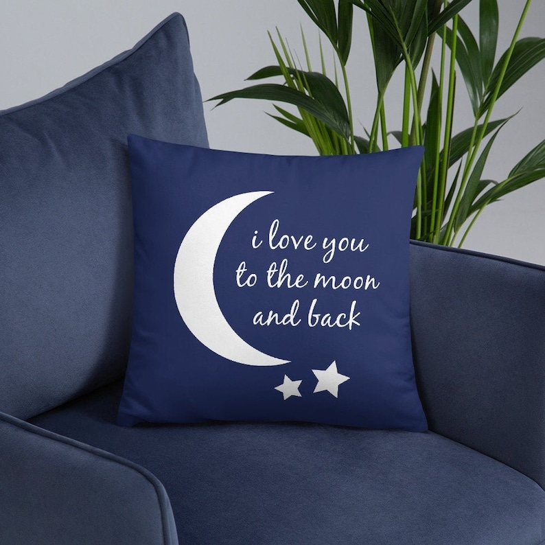 I love you to the Moon and Back Navy Blue Pillow