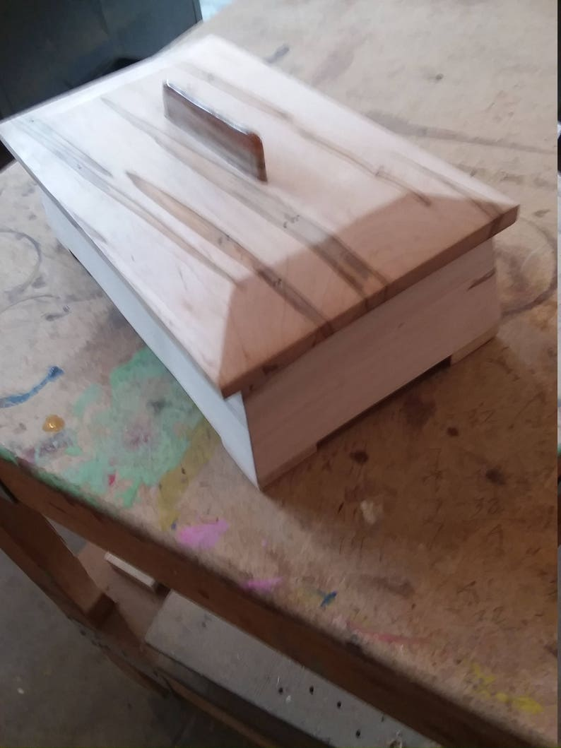 ambrosia maple box, fine woodworking, one of a kind wood art, gift for man  or woman, 5 year wood anniversary gift, keepsake box, jewelry box