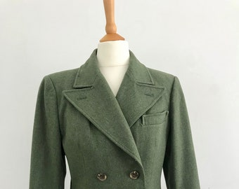1970s Moss Green Jaeger Wool Jacket * Size Small