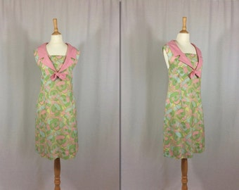 1960s Floral Shift Dress * Size Large