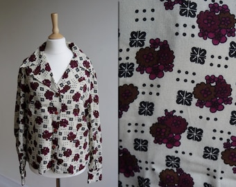 70s Abstract Print Blouse * Size Medium - Large