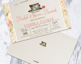 Printable-Invitation-Bridal Shower-Baby Shower-Birthday-Brunch-Tea Party-Flowers-Vintage Feel-Momtobe-Bridetobe-tea cup-Party