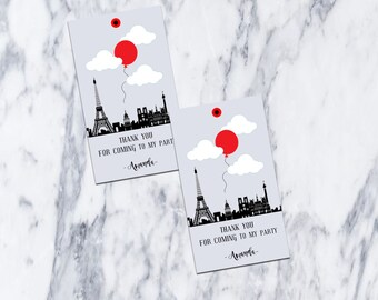 Printable-Favor Tags-Birthday-Party-Thank You-Favors-DIY-Tags-Fiesta-Girl-Thank You for Coming-Red Balloon-Paris-Red-Balloon-Gray-Boy-Grey