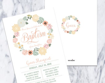 Printable-Baptism-Dedication-Christening-Invitation-Floral Wreath-Girl-White-Coral-English-Spanish-Bautismo-Custom