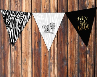 Printable-Safari-Wild-Birthday-Bunting Flags-Banner-Black-White-Gold Foil-Instant download-Adventure-animal print
