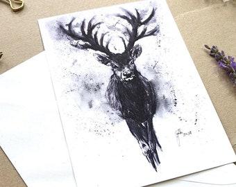 Watercolor Deer - handmade Greeting Card and Postcard with Fine Art Print