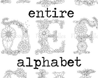 DISCOUNT - Floral Letters whole alphabet - adult coloring book, printable download, colouring pages, name, nursery decor, Fleurdoodles