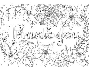 adult coloring page thank you printable download colouring pages floral coloring book love gifts mandala hand drawn cards lettering