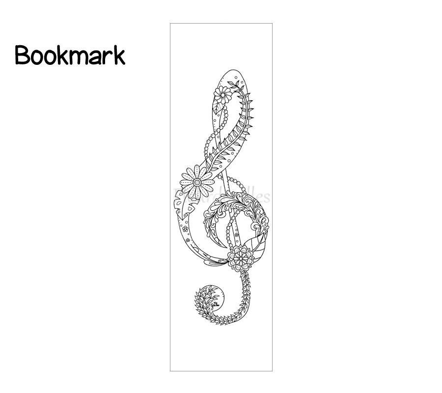 Lesezeichen Violinschlüssel Bücher Ausmalseiten Malseiten | Etsy