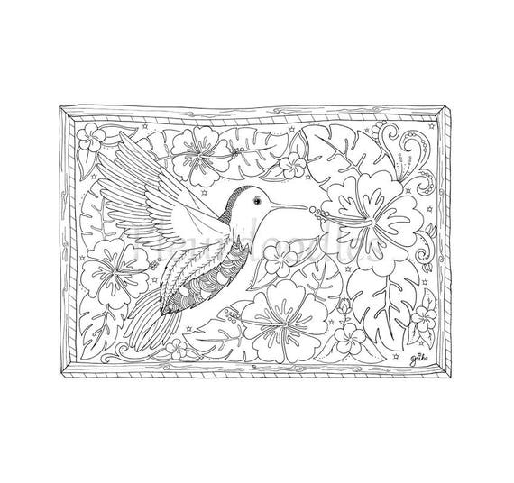 ähnliche Artikel Wie Bild Zum Ausmalen Kolibri Handgezeichnet
