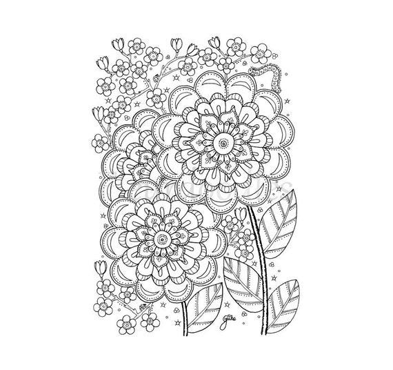 cherry flower malseite f r erwachsene malseiten etsy. Black Bedroom Furniture Sets. Home Design Ideas