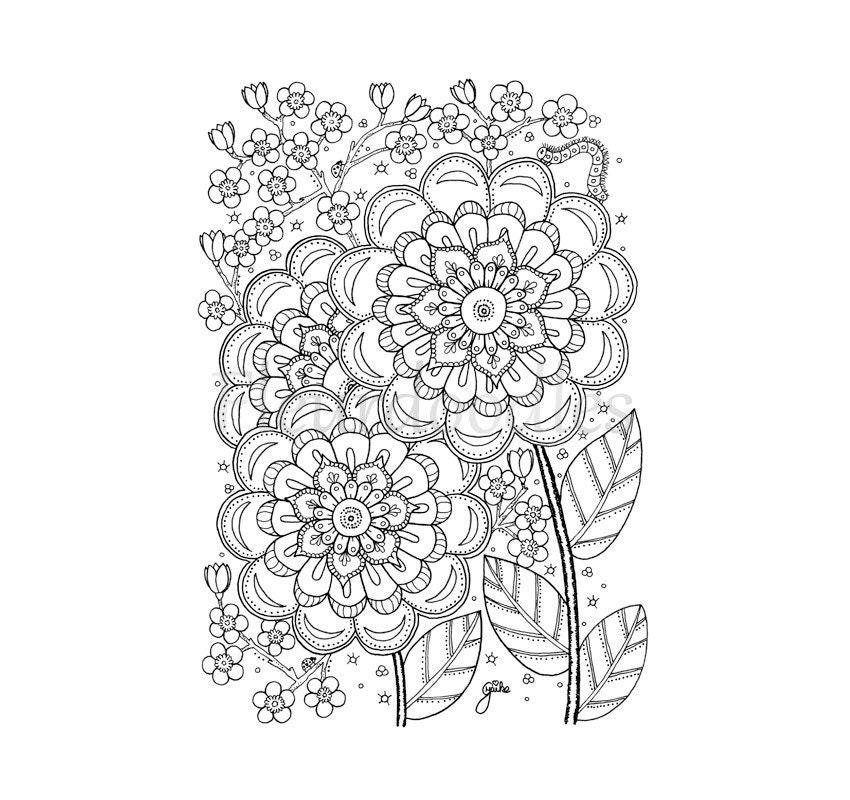 Cherry Flower Malseite für Erwachsene Malseiten | Etsy