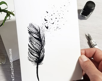 Feather - handmade Greeting Card and Postcard with Fine Art Print