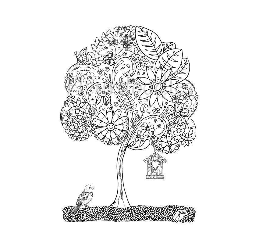Doodle Tree 1 Malseite für Erwachsene Ausmalbilder zum   Etsy