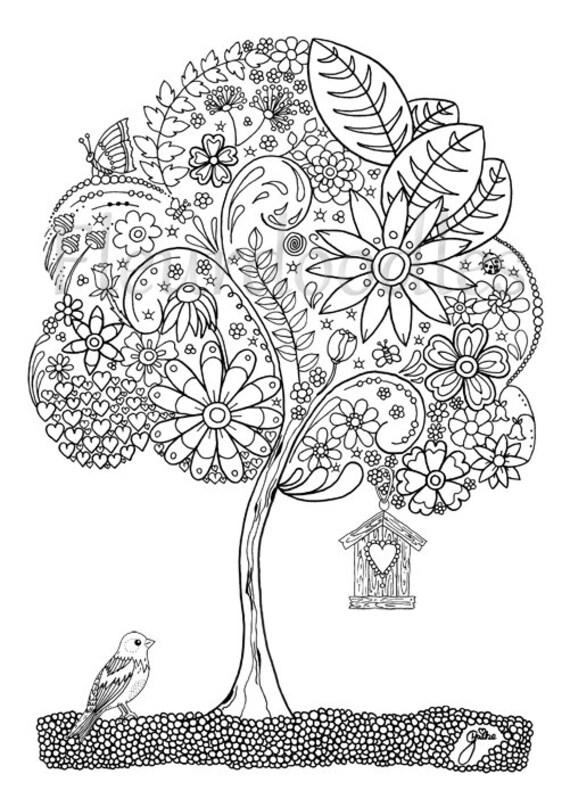 Doodle Tree 1 Malseite für Erwachsene Ausmalbilder zum | Etsy