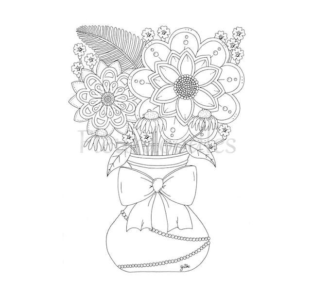 Coloring Page Bouquet Floral Instant Download
