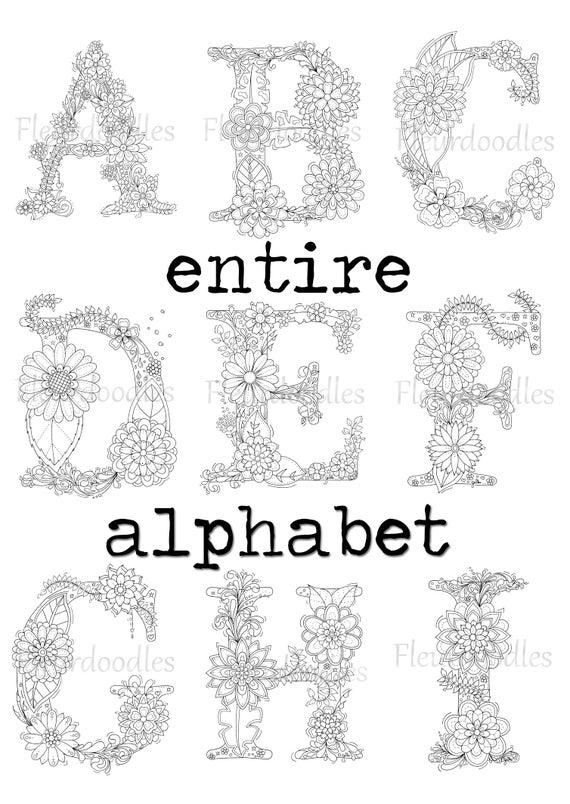 DISCOUNT Floral Letters whole alphabet adult coloring | Etsy