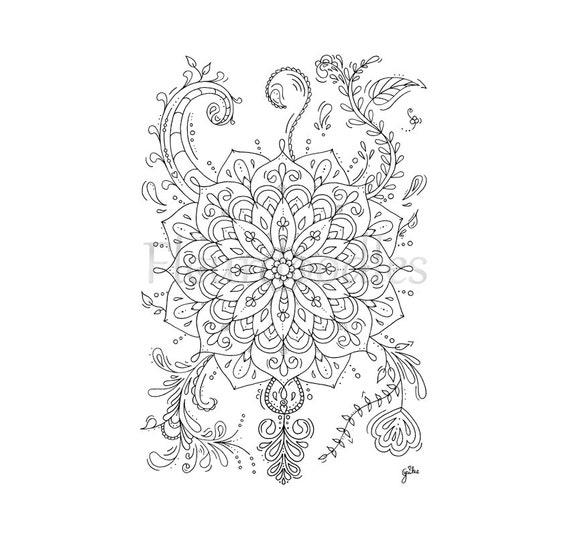 florales bild zum ausmalen mandala flower handgezeichnetes. Black Bedroom Furniture Sets. Home Design Ideas