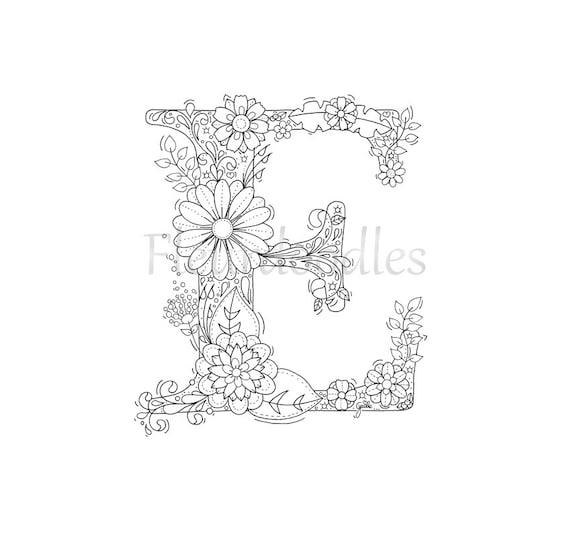 Malseite zum Ausdrucken Buchstabe E floral