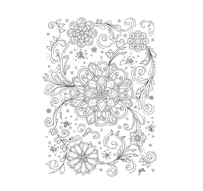 Malseite für Erwachsene Blumen Wirbel handgezeichnet zum | Etsy