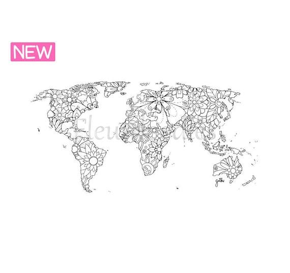 Malvorlage zum Ausdrucken Weltkarte handgezeichnetes