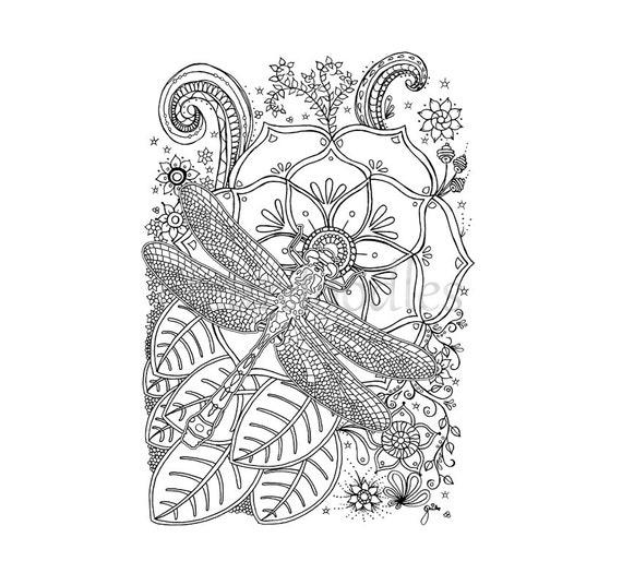 Ahnliche Artikel Wie Lotus Libelle Malseite Handgezeichnete