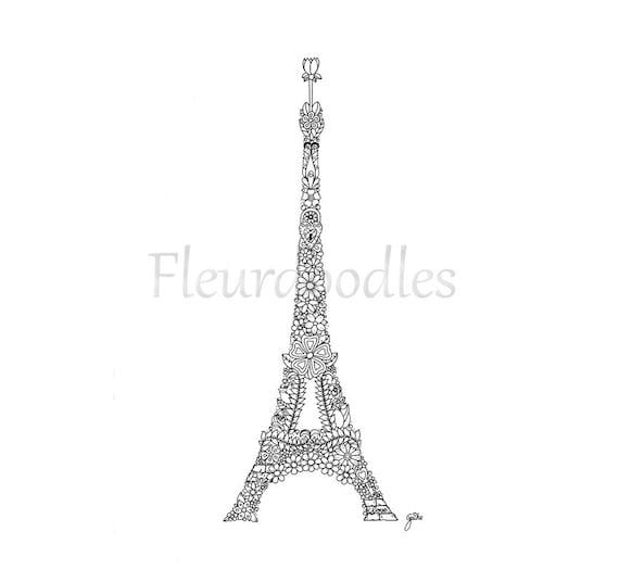 Coloring Page Eiffel Tower Paris Printable Instant Download