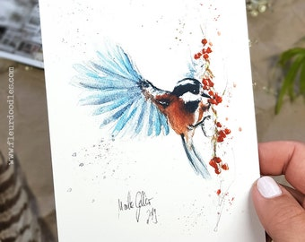 Bird Painting - handmade Greeting Card and Postcard with Fine Art Print