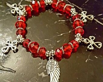 Red angel wing bracelet