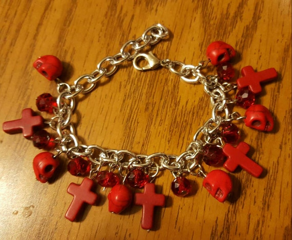 Charms for Bracelets and Necklaces Red Paint Charm With Lobster Claw Clasp