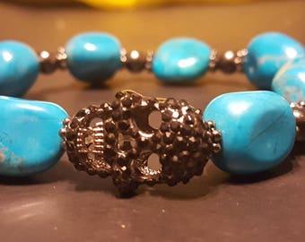 Turquoise stone skull bracelet
