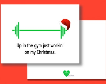 Fitness xmas card etsy christmas cards up in the gym just workin on my christmas m4hsunfo