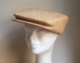Womens and Mens Raffia Straw Square Hat, Casual Hat, Futuristic Hat, Design Hat, Summer Hat, Spring Hat, Visor Straw Hat