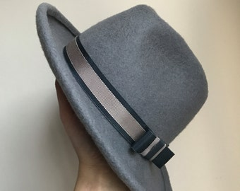 Womens and Mens Felt Trilby Fedora Hat, Classic Hat, Winter Hat, Grey Felt Fedora Asymmetric Brim Hat With Dark Grey And Beige Band With Bow
