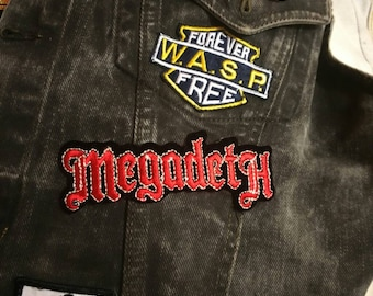 for your denim battle yacket Heavy metal style 80s made in usa Megadeth big iron on Embroidered on velvet patch vintage early 90s