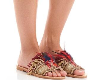 "sandals ""Kaira"" NEW Greek leather sandals, Handcrafted sandals, Women sandals, Handmade sandals, Luxury sandals, Feather sandals"