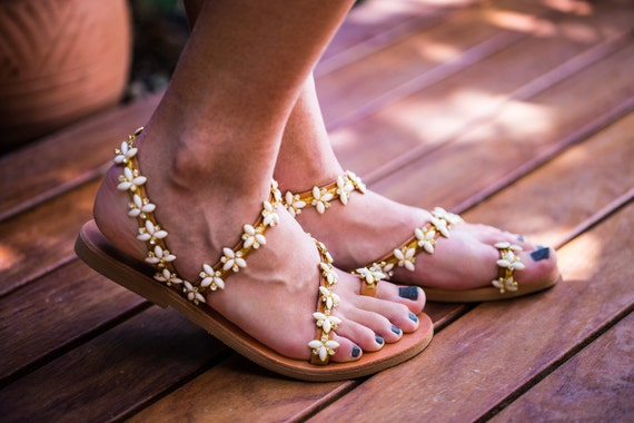 leather 40 SALE creme crystals sandals Genuine opal transparent with amp; EO6wqCxdp6