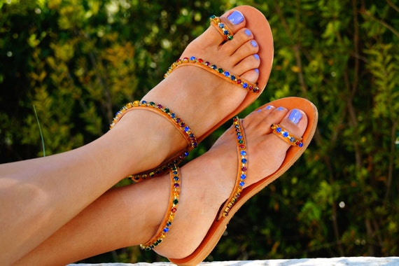 Genuine SALE sandals crystals multicoloured with 40 Swarovski decorated leather 57q7vwp