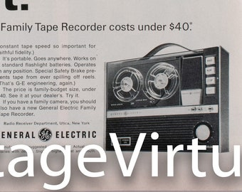 Vintage 1965 General-Electric 'Family Tape Recorder' Ad (65LIFE-13)