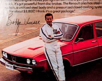 88c62c4a29 1975 Renault 12 Featuring Bobby   Al Unser Ad from 1975 (AD153)