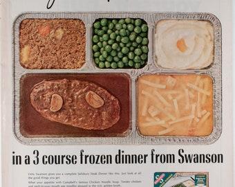 Vintage 1965 Swanson Ad - Unappetizing Frozen Dinner (65LIFE-06)