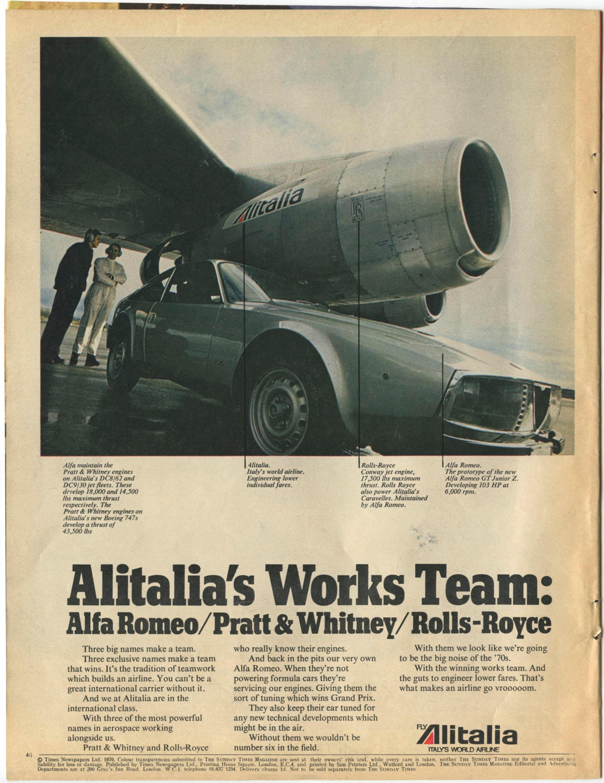 Alitalia / Alfa Romeo Ad from 1970 (70-ST-02)