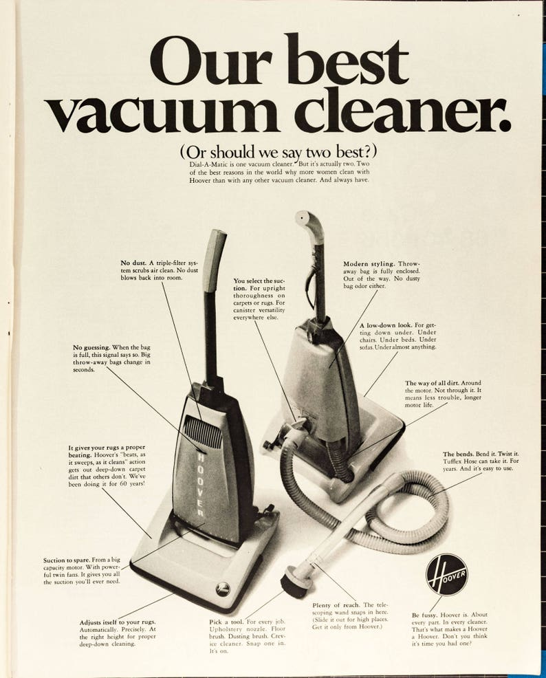 Vintage Hoover Vacuum Cleaner Ad from 1968 PO-68-264 image 0