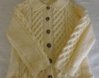 Hand knitted child's cream aran jacket, sweater, coat, cardigan, 3-4 years