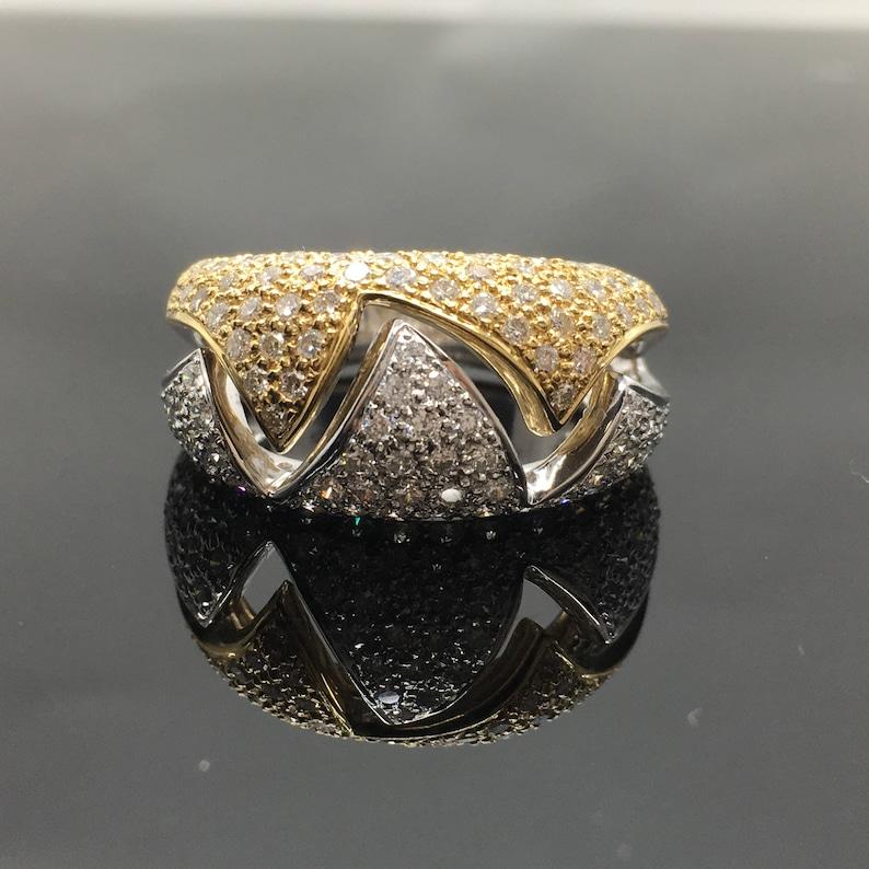 30f8bc2d5f8c Anillo de 14K diamante oro blanco y amarillo anillo Cocktail